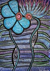 Flowers green leaves art<br>Israel contemporary painter<br>Mirit Ben-Nun, Drawings / Sketch, Expressionism, Floral, Ink, By Mirit Ben-Nun