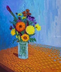 Flowers in a vase, Paintings, Expressionism, Botanical, Canvas,Oil, By Ivan Klymenko