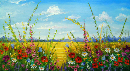 Flowers in the field, Paintings, Impressionism, Botanical,Floral,Landscape,Nature, Canvas,Oil,Painting, By Olha   Darchuk