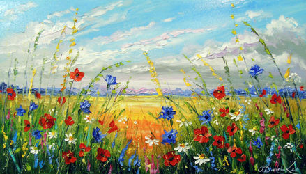 Flowers in the field, Paintings, Impressionism, Botanical,Floral,Nature, Canvas,Oil,Painting, By Olha   Darchuk
