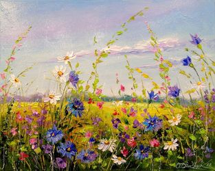 Flowers on the meadow, Paintings, Impressionism, Botanical,Floral,Landscape,Nature, Canvas,Oil,Painting, By Olha   Darchuk