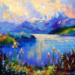 Flowers on the shore of a<br>mountain lake, Paintings, Impressionism, Botanical,Landscape,Nature, Canvas,Oil,Painting, By Olha   Darchuk