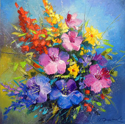 Flowers summer, Paintings, Fine Art,Impressionism, Botanical,Floral,Still Life, Canvas,Oil,Painting, By Olha   Darchuk