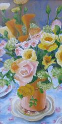 Flowers With A Ceramic Vace, Paintings, Expressionism, Floral, Acrylic, By Jane Adrianson