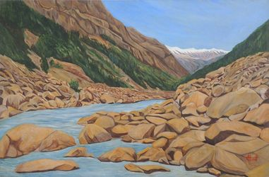Flowing through Rocks, Paintings, Expressionism,Realism, Landscape, Canvas, By Ajay Harit