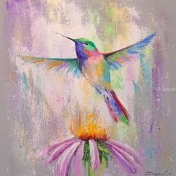 Flying Hummingbird, Paintings, Fine Art,Impressionism, Animals,Botanical,Floral,Nature, Canvas,Oil,Painting, By Olha   Darchuk