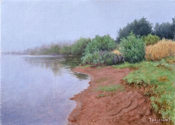 Foggy Morning on the lake, Paintings, Fine Art,Realism, Landscape,Nature, Canvas,Oil, By Dejan Trajkovic