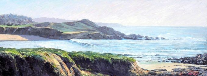 Foggy Sunlight at Monterey, Paintings, Impressionism, Seascape, Oil,Wood, By Mason Kang