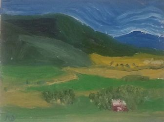 Foot of the Mountain, Paintings, Impressionism, Landscape, Oil, By MD Meiser