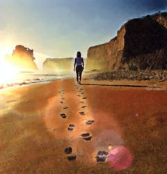 Footsteps in the Sand, Digital Art / Computer Art, Realism, Inspirational, Digital, By Simon Lewis Mapp