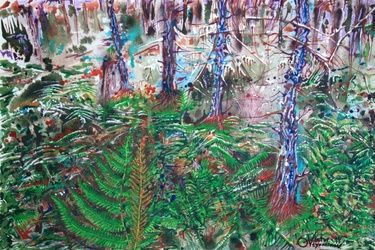 Forest fern, Paintings, Surrealism, Landscape, Acrylic, By Victor Ovsyannikov