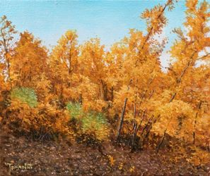 Forest in Autumn, Paintings, Fine Art,Impressionism,Realism, Landscape,Nature, Canvas,Oil, By Dejan Trajkovic