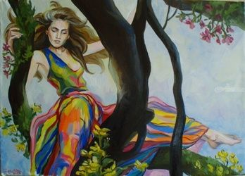 Forest Nymph, Paintings, Fine Art,Photorealism,Realism,Surrealism, Fantasy,Figurative,Floral,Mythical,People, Canvas,Oil, By Kateryna Bortsova