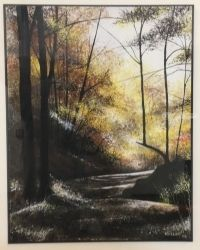 Forest path in Autumn, Paintings, Impressionism, Landscape, Watercolor, By Stephen Keller