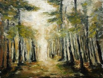 FOREST SONG, Paintings, Expressionism, Botanical,Landscape,Nature, Oil,Painting, By Emilia Milcheva