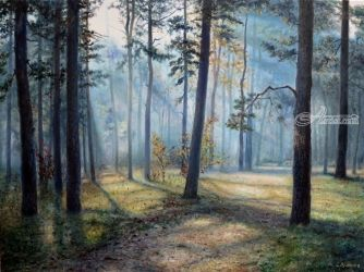 Forest Tranquility, Paintings, Realism, Landscape, Canvas,Oil, By Sergey Lutsenko