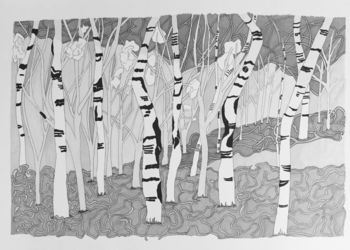 Forrest, Drawings / Sketch, Impressionism, Nature, Ink, By Deb Schmidt