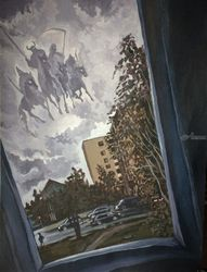 Four Horsemen, Paintings, Expressionism, Window on the World, Acrylic, By Victoria Trok