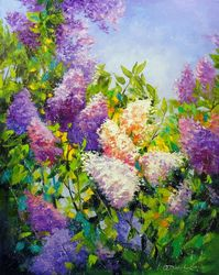 Fragrance of lilac, Paintings, Fine Art,Impressionism, Botanical,Floral, Canvas,Oil,Painting, By Olha   Darchuk