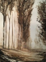 French Country Road, Paintings, Impressionism, Landscape, Watercolor, By Stephen Keller