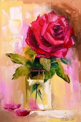 Fresh rose, Paintings, Impressionism, Botanical,Floral,Nature, Canvas,Oil,Painting, By Olha   Darchuk