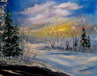 Frost and sun ..., Paintings, Impressionism, Landscape, Canvas, By Valeriy Politov