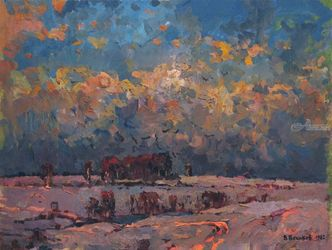 Frosty winter day, Paintings, Impressionism,Realism, Landscape, Oil, By Vasily Belikov