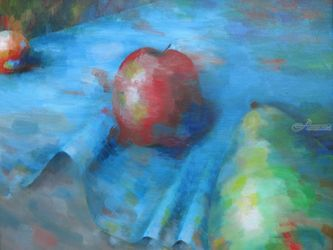 Fruit On A Blue Cloth, Paintings, Expressionism, Still Life, Acrylic, By Jane Adrianson