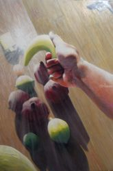 Fruits under arrest (2006)<br>(sold), Paintings, Abstract,Fine Art,Impressionism,Realism,Surrealism, Composition,Figurative,Inspirational,Still Life, Oil, By Corne Akkers