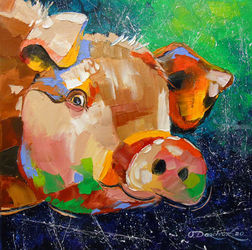 Funny pig, Paintings, Fine Art,Impressionism,Pop Art, Animals,Nature, Canvas,Oil,Painting, By Olha   Darchuk