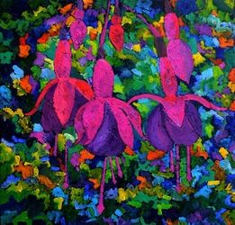 fuschia 88, Paintings, Expressionism, Botanical, Canvas, By Pol Ledent