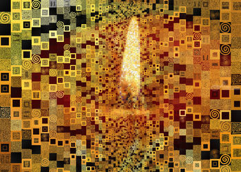 G. Klimt golden theme<br>inspiration - tile art, Digital Art / Computer Art, Chance,Opticality, Composition, Digital, By Dmitry Posudin