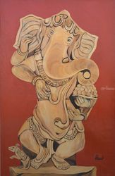 Ganesha Lambodar, Paintings, Cubism,Expressionism, Figurative, Canvas, By Ajay Harit