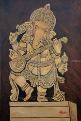 Ganesha playing Veena, Paintings, Realism, Landscape, Canvas, By Ajay Harit