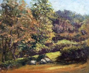 Gap in the hedge, Paintings, Impressionism, Landscape, Oil, By David Mather