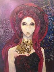 Garnet stone, Paintings, Fine Art,Surrealism,Symbolism, Decorative,Fantasy,Furniture,Inspirational,People, Canvas, By olga zelinska