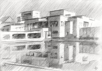 Gemeentemuseum 04 (2014), Drawings / Sketch, Abstract,Cubism,Fine Art,Impressionism,Realism, Architecture,Cityscape,Composition,Figurative,Inspirational, Pencil, By Corne Akkers
