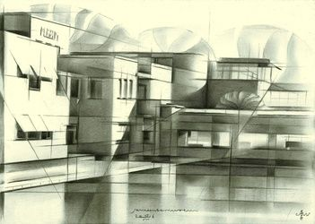 Gemeentemuseum - 05-08-16, Drawings / Sketch, Abstract,Cubism,Fine Art,Impressionism,Realism, Architecture,Cityscape,Composition,Figurative,Landscape, Pencil, By Corne Akkers