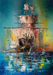 Ghost ship, Paintings, Abstract,Impressionism, Landscape,Seascape, Oil, By Liubov Kuptsova