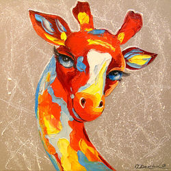 Giraffe, Paintings, Fine Art,Pop Art, Animals,Figurative,Wildlife, Canvas,Oil,Painting, By Olha   Darchuk