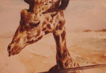 Giraffe, Paintings, Fine Art, Animals, Watercolor, By James Cassel