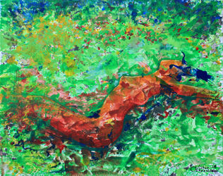 Girl in the meadow, Paintings, Expressionism, Nudes, Acrylic,Canvas, By Victor Ovsyannikov