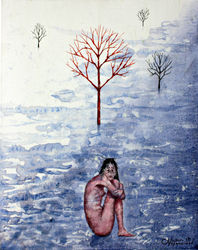 Girl in the snow, Paintings, Surrealism, Landscape, Acrylic,Canvas, By Victor Ovsyannikov