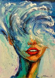 Girl Wave, Paintings, Expressionism,Impressionism, Fantasy,Portrait, Canvas,Oil,Painting, By Olha   Darchuk