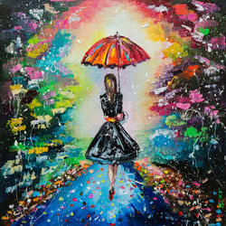 GIRL WITH A RED UMBRELLA, Paintings, Impressionism, Cityscape,People, Canvas,Oil, By Liubov Kuptsova