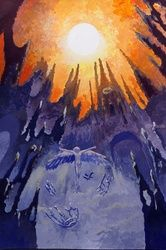 Glory to the Sun(acrylic on<br>paper), Paintings, Fine Art, Fantasy, Acrylic, By Victoria Trok