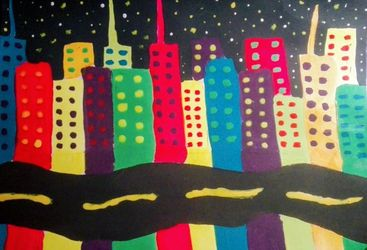 Glowing City, Paintings, Expressionism, Performance Art, Painting, By JULIANA CALLE