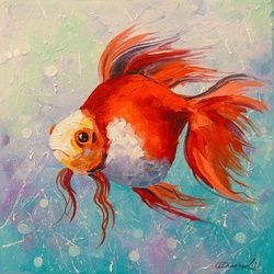 Gold fish, Paintings, Impressionism, Animals,Nature, Canvas,Oil,Painting, By Olha   Darchuk