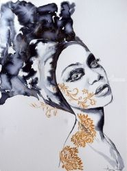 GOLD & INK / SERIES OF<br>PORTRAITS IN INK AND GOLD, Illustration, Fine Art,Minimalism,Pop Art, Figurative,Portrait, Ink, By Anna Sidi Yacoub