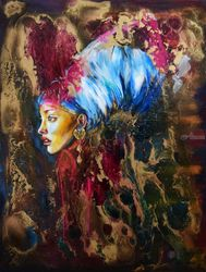 Golden Age, Paintings, Fine Art,Modernism, Portrait, Acrylic,Epoxy,Ink, By Anna Sidi Yacoub